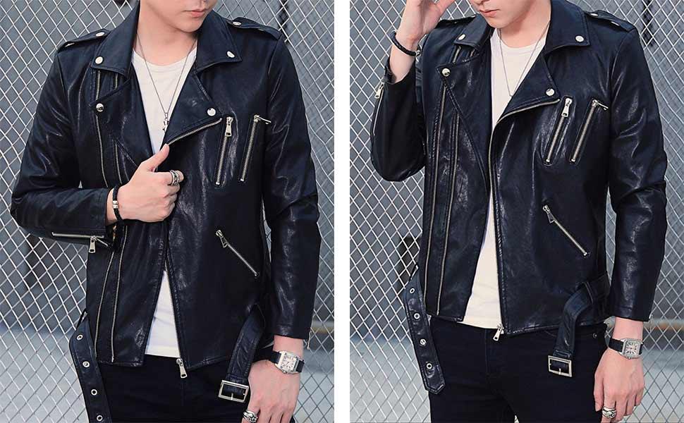 David Ann Men S Classic Faux Leather Biker Zipper Jacket Coat At
