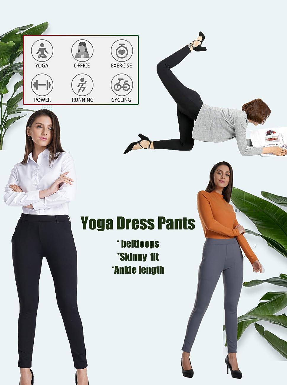 b2a441c9f95c4 Bamans Yoga Dress Pants, Tummy Control Workout Leggings for Women ...