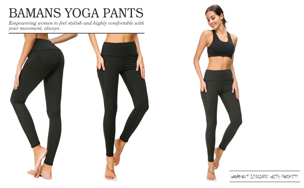 Bamans Womens High Waist Yoga Pants Out Pockets Workout Running 4 Way Stretch Yoga Leggings