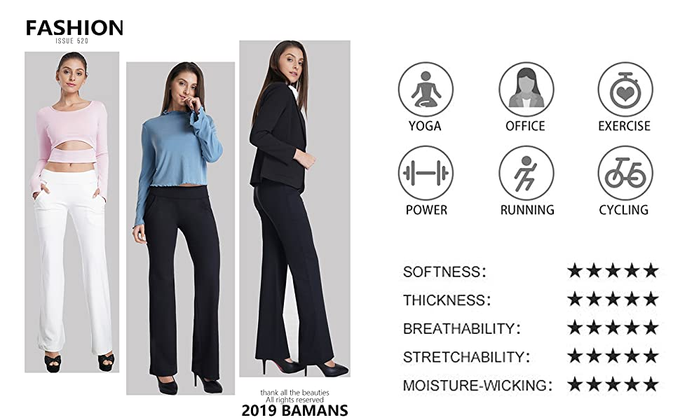 Amazon.com: Bamans Womens Yoga Dress Pants Bootcut Leggings with ...