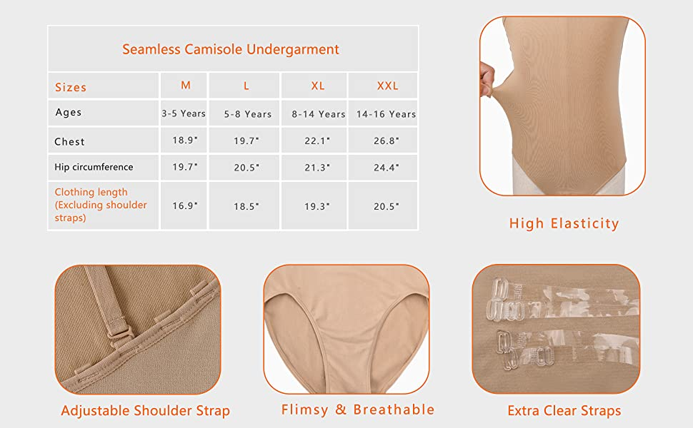 Girls Camisole  Sizing