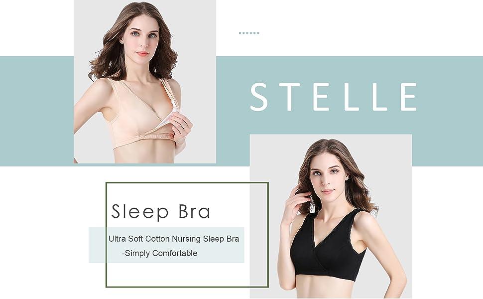 ad99eaf97 STELLE Women s Soft Cotton Wireless Nursing Sleep Bra For Maternity ...