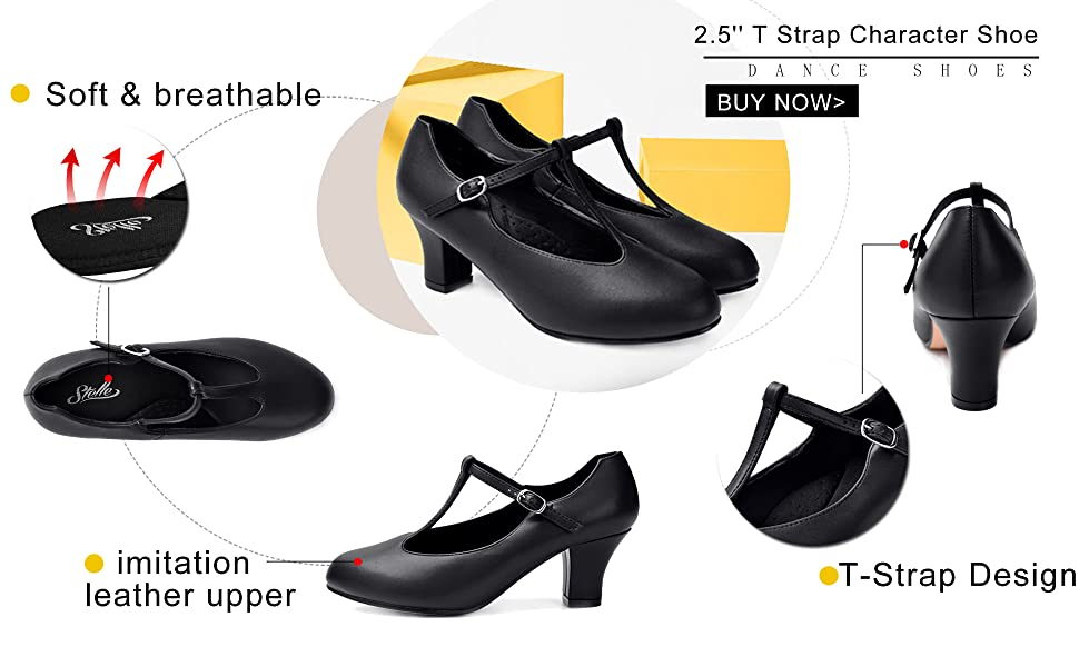 T Strap character shoes 2.5 Inch