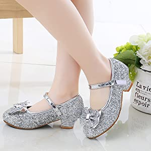 Girls Glitter Silver Mary Jane Shoes