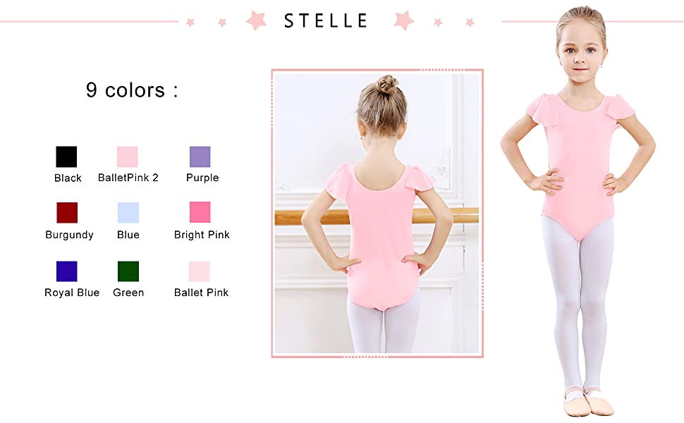 bd88e5201431 Amazon.com  STELLE Girl s Cotton Ruffle Short Sleeve Leotard For ...