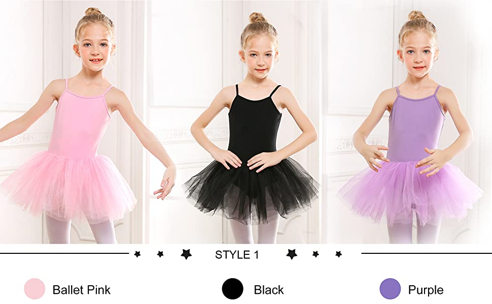 Girls Camisole Tutu Dress Leotard in different colors and styles
