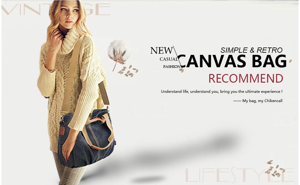 b96dfe374c Chikencall Women Bags Casual Vintage Hobo Canvas Daily Purse Top Handle  Shoulder Tote Shopper Handbags