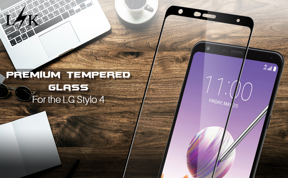 LK [2 Pack] Screen Protector for LG Stylo 4, [Full Cover] Tempered Glass  with Lifetime Replacement Warranty