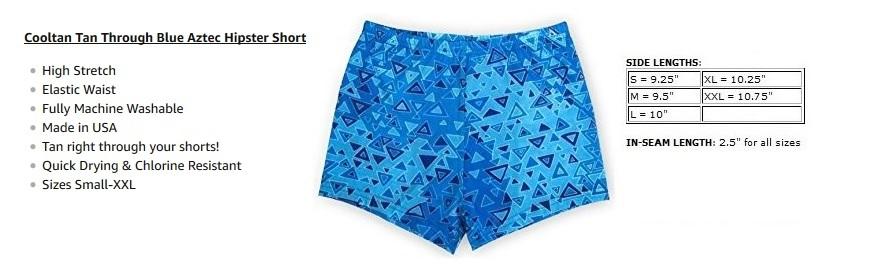 7d0aa71886 Cooltan Men's Sun Through Hipster Swim Shorts Blue Aztec | Amazon.com