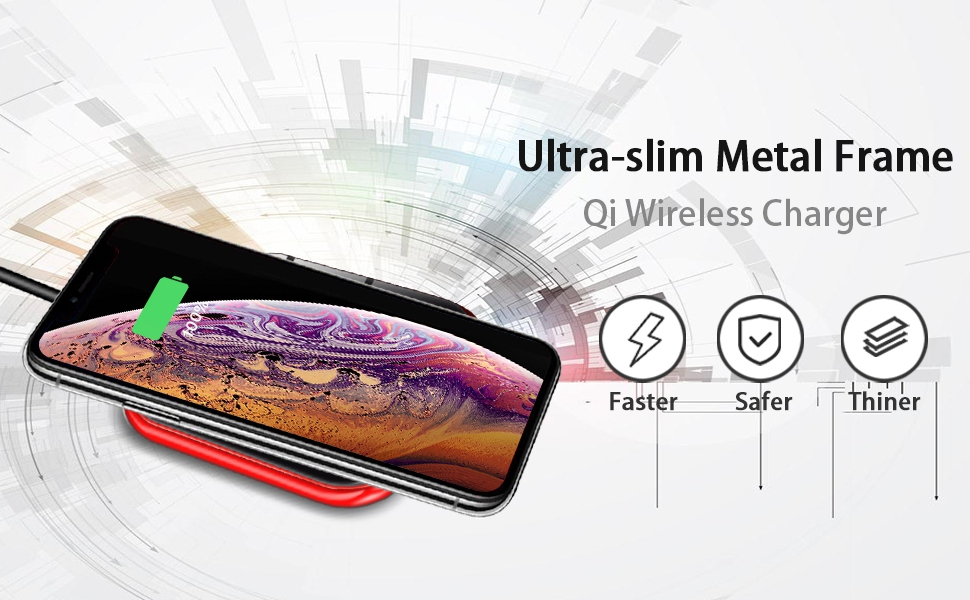 HBorna Wireless Charger, Qi Certified 7.5w Wireless Chargering for iPhone XS/XR/X/8/8 Plus, Ultra-Slim 10w Fast Wireless Charger for Samsung Galaxy ...