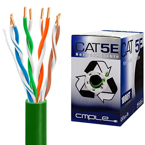 Cmple 24 AWG Yellow Color UTP 1,000 ft,Pull Box Cat5e Bulk Cable