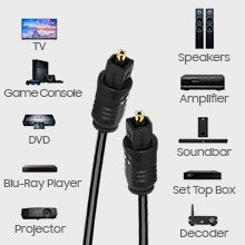 optical audio cable for playstations projector tv soundbar speakers