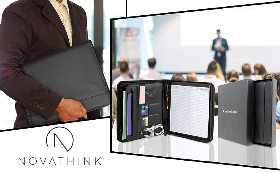 Portfolio padfolio executive business writing pad card holder resume leather zippered best personal