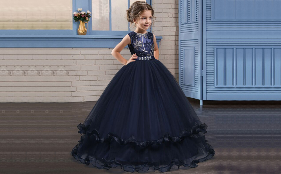 Amazon.com: TTYAOVO Girl Princess Pageant Ball Gown Kids Prom Puffy ...