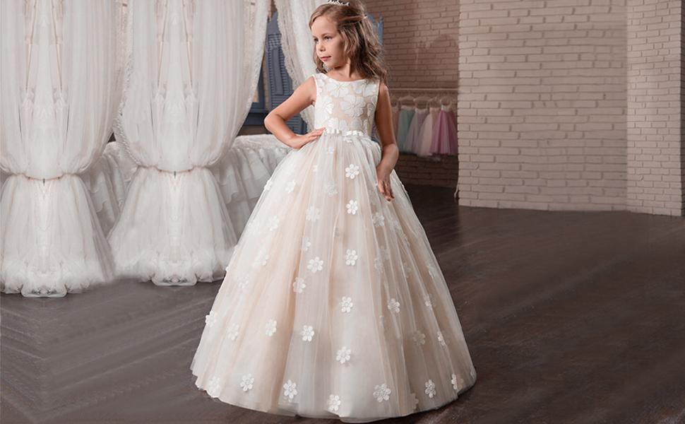 Amazon.com: TTYAOVO Girls Pageant Princess Flower Dress Kids Prom ...