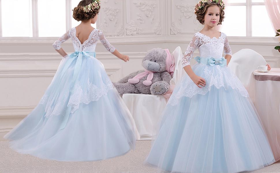 Amazon.com: TTYAOVO Girls Lace Backless Ball Gowns Chiffon Flower ...