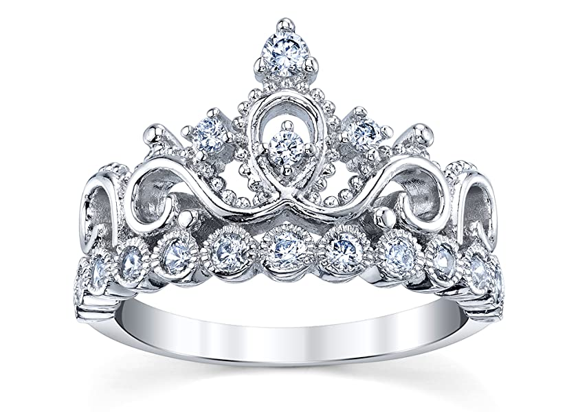 925 sterling silver princess crown ring jewelry