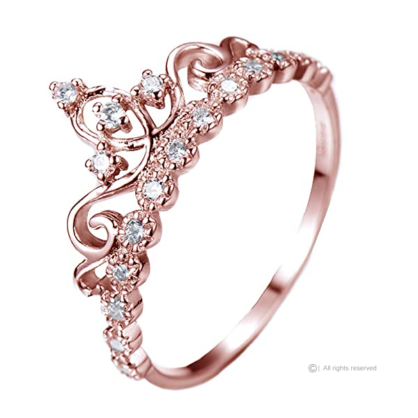 amazon com dainty rose gold plated sterling silver princess crown