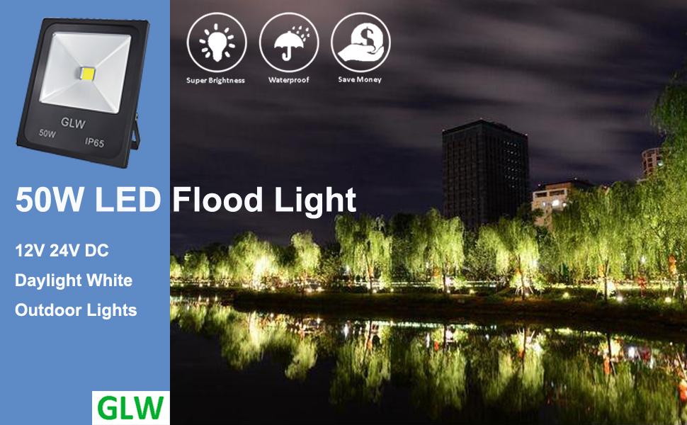 Glw 12v24v ac or dc led flood light 50w outdoor super bright 50w 12v outdoor floodlight waterproof ip65 if use it to 110v ac voltage a 12v transformer needed aloadofball Gallery