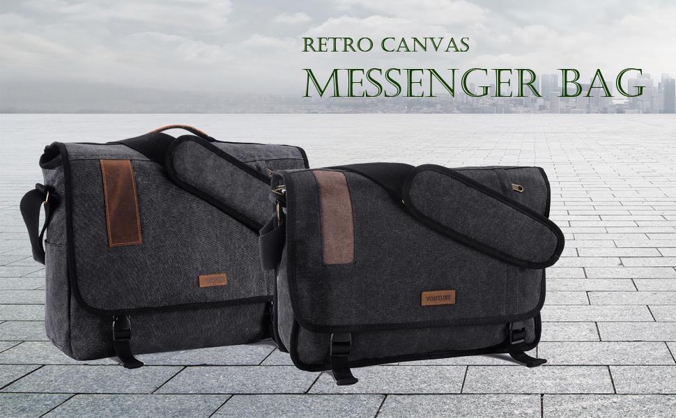 d8de7ee14bba 17.3 Inch Laptop Messenger Bag, Vintage Canvas Shoulder Bag for Men by  VONXURY