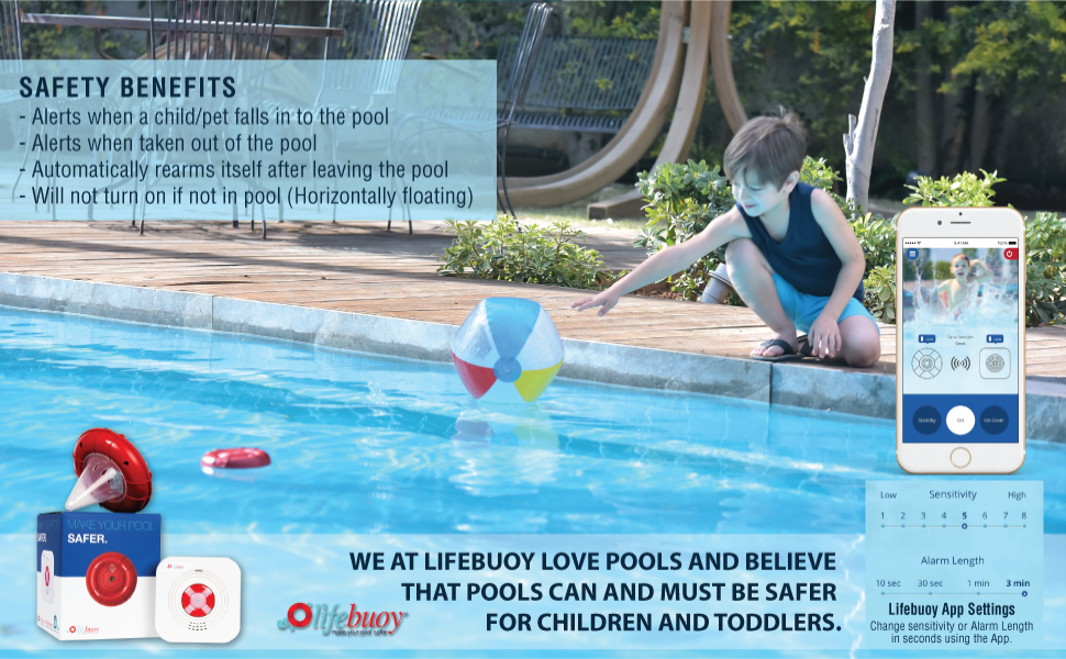Amazon.com : Lifebuoy Pool Alarm System - Pool Motion Sensor - Smart ...