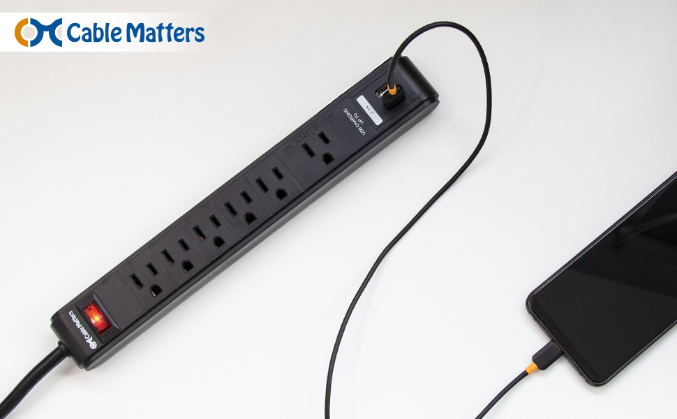 Surge Protector Strip with USB Charging