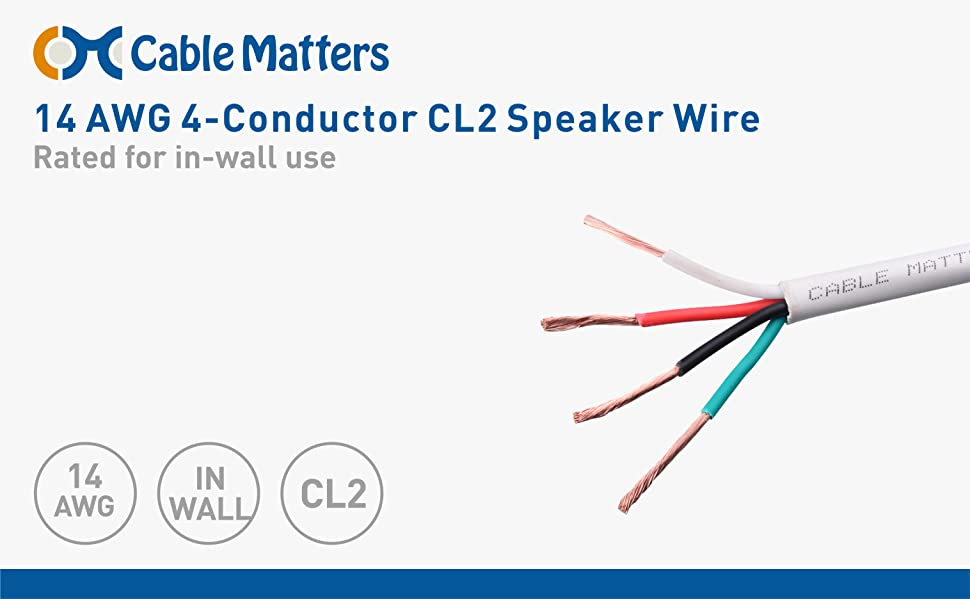 Amazon.com: Cable Matters 14 AWG CL2 In Wall Rated Oxygen-Free Bare ...