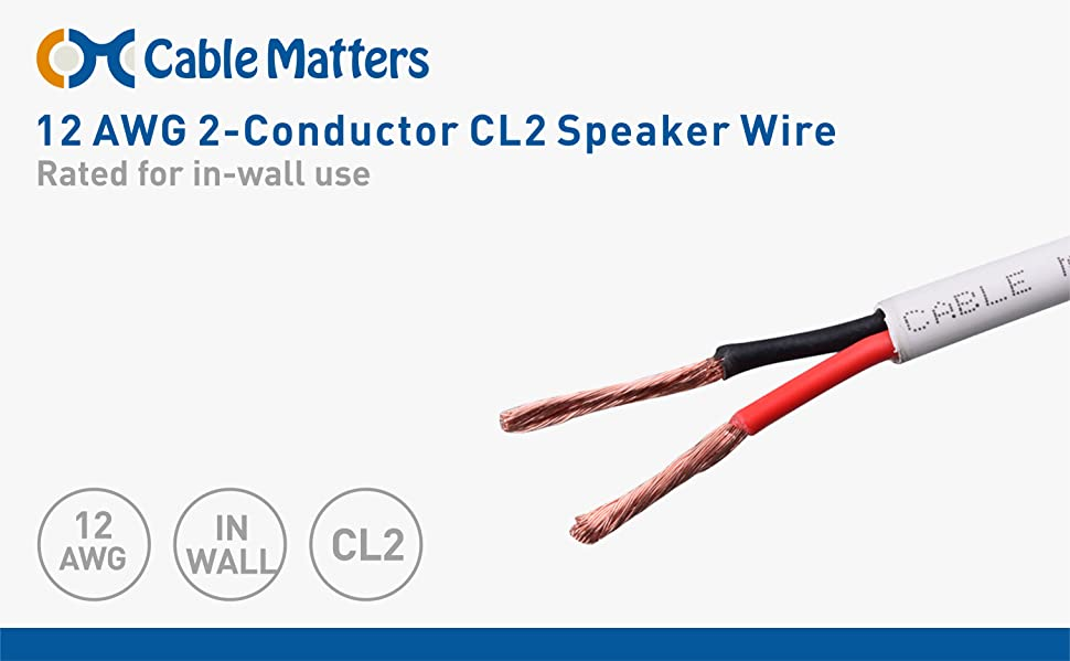 Amazon.com: Cable Matters 12 AWG CL2 In Wall Rated Oxygen-Free Bare ...
