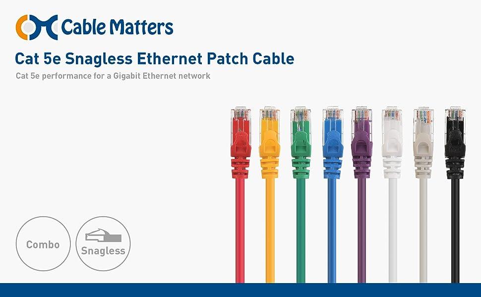 Amazon Com Cable Matters 8 Color Combo Snagless Cat5e