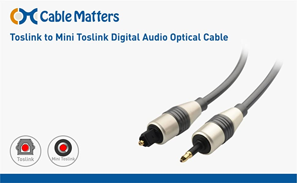 Amazon.com: Cable Matters Toslink to Mini Toslink Cable - 10 Feet ...