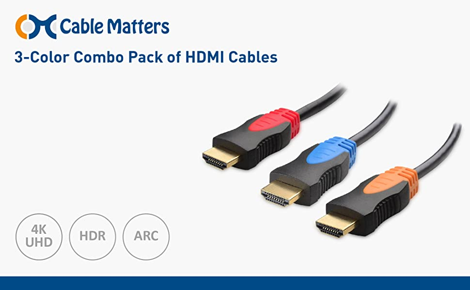 Amazon.com: Cable Matters 3-Pack, Gold Plated High Speed HDMI Cable ...