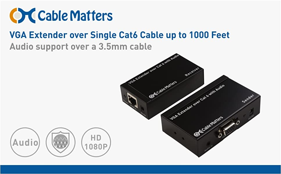 VGA Over Ethernet Extender up to 1000 feet Cable Matters Long Range VGA Extender Over Ethernet Cable