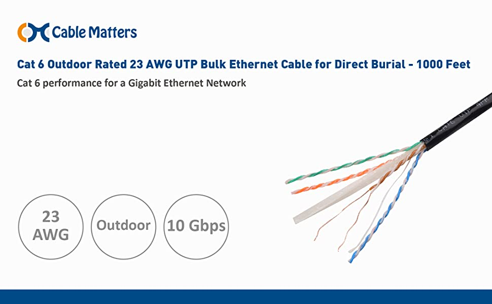 Amazon Com  Cable Matters Cat 6 Outdoor Rated 23 Awg Utp