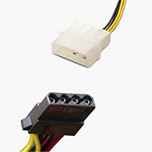 Cable Matters 2-Pack 3 Way 4 Pin PWM Fan Splitter Cable with Molex Power -  1 Foot