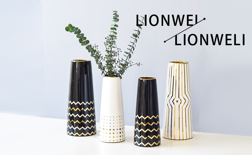 12 White Gold Stripe Finish Ceramic Flower Vase Home Decor Vase and Table Centerpieces Vase Christmas Wedding Ideal Gifts for Friends and Family Bridal Shower
