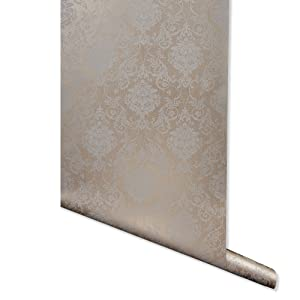 Brown gray damask foil damask wallpaper for walls peel and stick removable