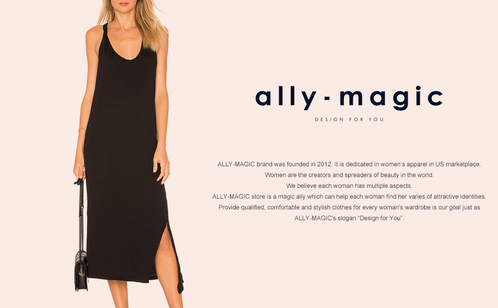 51aaa2e868 Ally-Magic Women s Sleeveless Side Split Midi Tee Dress Please note that we  use Spandex fabric to make this dress flattering and show your figure well.