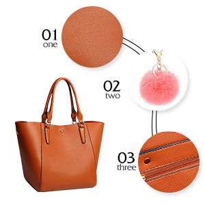 Kuizee Tote Handbag Shoulder Bags Large Capacity PU Leather Decoration Casual School Shopping Fashion 15.7In