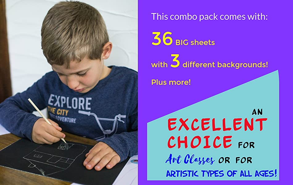 Mua Sản Phẩm Scratch Paper Combo Art Set For Kids 36 Big Sheets 18