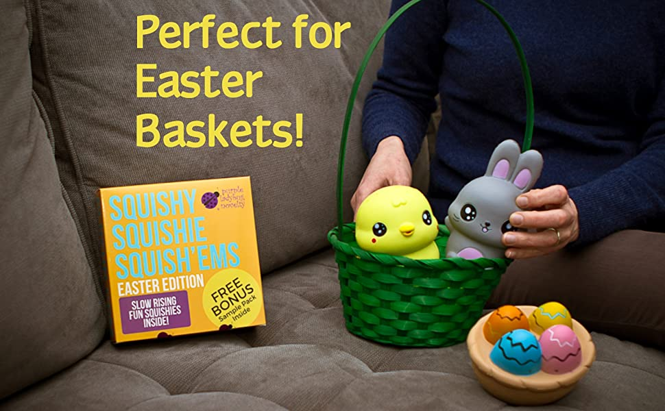 Easter bunny eggs chick basket squishies toy easter gift box bonus not only are they fun theyre so useful for stress relief keep them in the office or anywhere to squeeze in tense times negle Choice Image