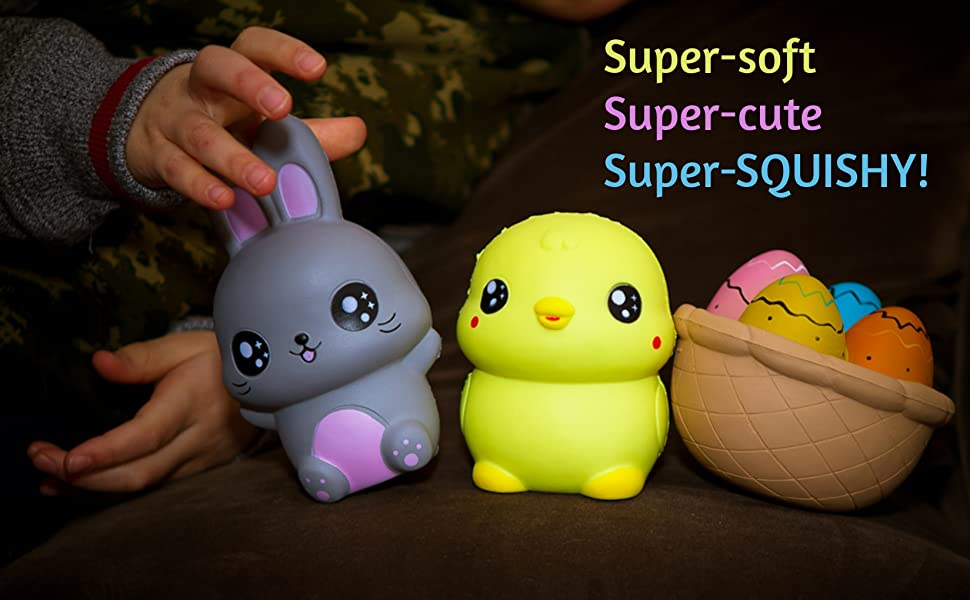 Easter bunny eggs chick basket squishies toy easter gift box bonus we can pack the most squishies possible into the box the vacuum packed squishies allow us to use a smaller box size which means we can offer tremendous negle Choice Image