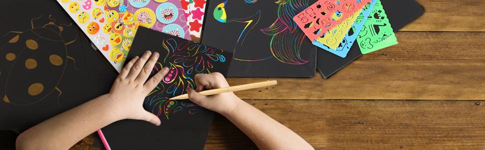 Purple Ladybug Novelty scratch art scratch paper scratch off gift artist drawing doodle kids crafts