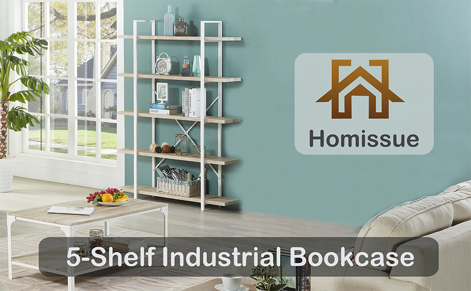 Amazon Com Homissue 5 Shelf Modern Style Bookshelf Light Oak Shelves And White Metal Frame Display Storage Rack For Collection 70 0 Inch Height Furniture Decor
