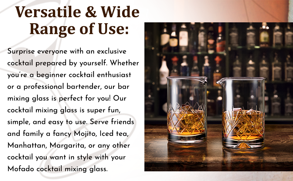 Our cocktail mixing glasses are perfect for professional bartender and enthusiasts