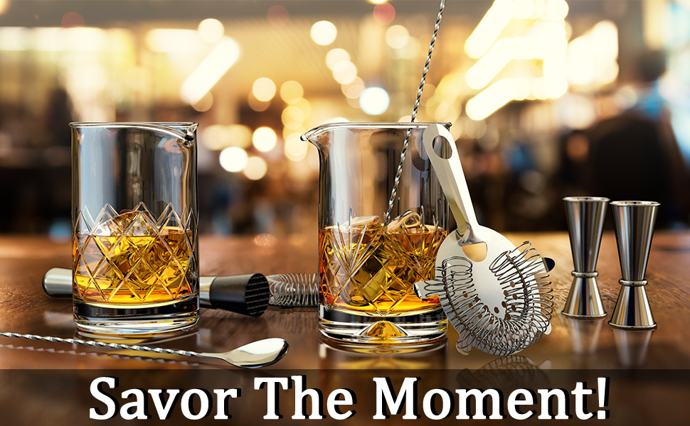Savor the moment with our cocktail mixing glasses