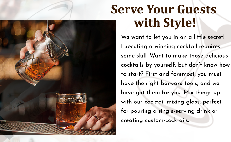 Serve your guests with style with our cocktail mixing glasses