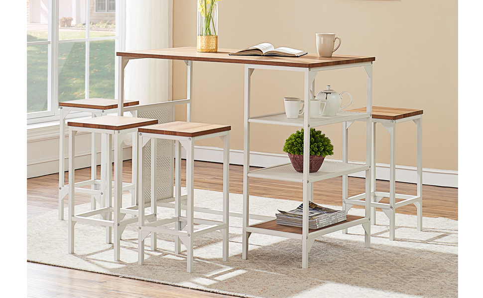 modern industrial style kitchen counter height table and chair bar stools set