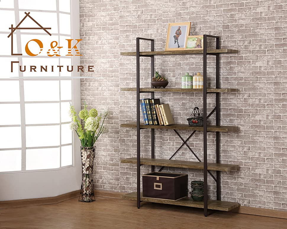 Ou0026K Furniture 5 Tiers Industrial Multinational Bookcase And Storage Shelves  For Home Decor
