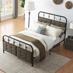 queen size metal bed for adults