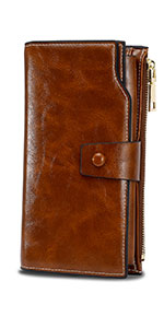 WOZEAH Womens RFID Blocking PU Leather Zip Around Wallet ...
